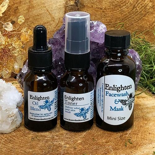Mini Sizes of our Enlighten Trio; Enlighten Facewash/Mask, Enlighten Toner and Enlighten Oil Moisturizer Blend