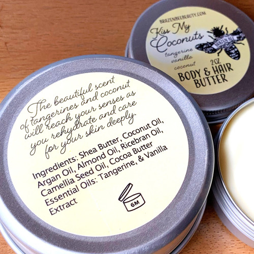 Hair & Body Butter that is full of naturally occurring vitamins, polyphenols, important lipids. Lipds include sterols, fat-soluble vitamins (such as vitamins A, D, E, and K), monoglycerides, diglycerides, triglycerides, phospholipids, and others.