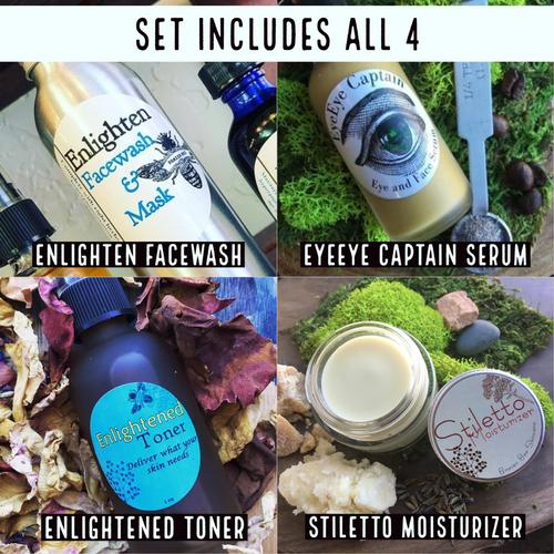 Wiser Set includes: Enlighten Facewash/Mask with custom anti-aging herb add-ins, EyeEye Captain Serum, Enlighten Toner and Stiletto Moisturizer.