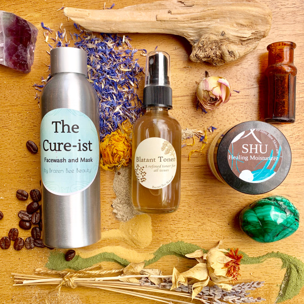 Acne Gone Set. All natural package of facewash, moisturizer, and toner that will assuredly clear your acne and keep it gone by strengthening the skin's own ability to fight off bacteria and inflammation.