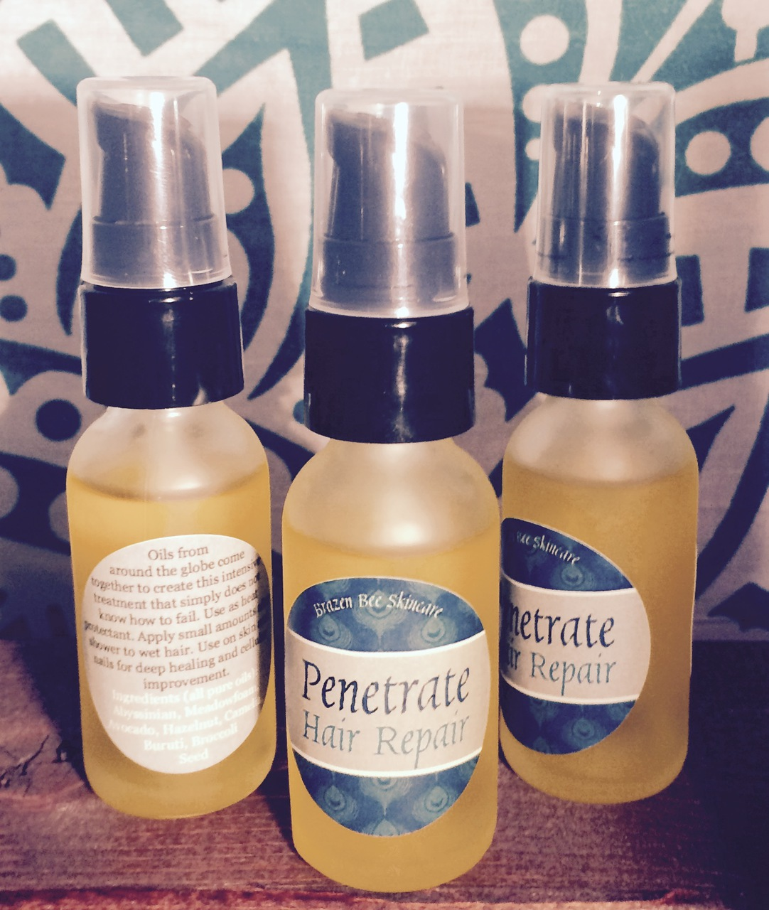 Penetrate Hair Oil: Hair Repair with natural oils. High in vitamins and fatty acids right for recovering shine, protecting from heat, and promoting growth.