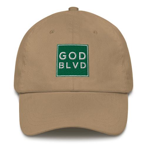 GOD BLVD - Classic Strapback Dad Hat (Green Design)