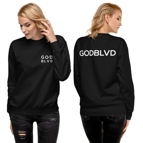 GOD BLVD - Women's Crewneck Sweater Pullover (Left Chest and Back Print)