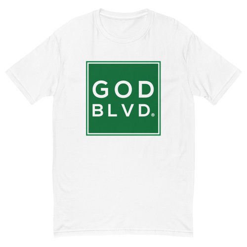 GOD BLVD - Short Sleeve Fitted Tee (Green on White)