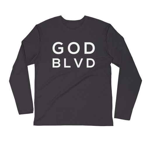 GOD BLVD - Logo Sleeve Tee (White on Heavy Metal Grey)