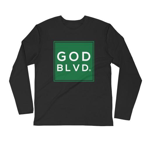 GOD BLVD - Sleeve Tee (Green on Black)
