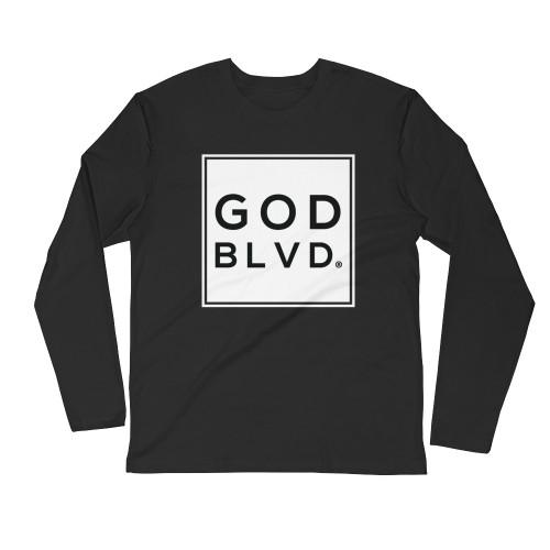 GOD BLVD - Sleeve Tee (White on Black)