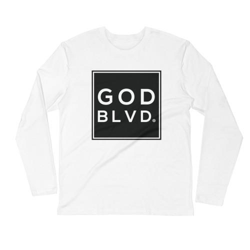 GOD BLVD - Sleeve Tee (Black on White)