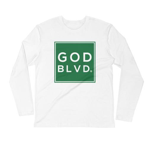 GOD BLVD - Sleeve Tee (Green on White)