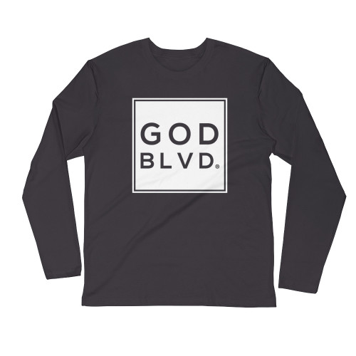 GOD BLVD - Logo Sleeve Tee (White Print on Heavy Metal Grey)