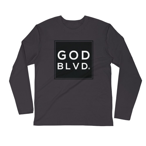GOD BLVD - Logo Sleeve Tee (Black on Heavy Metal Grey)