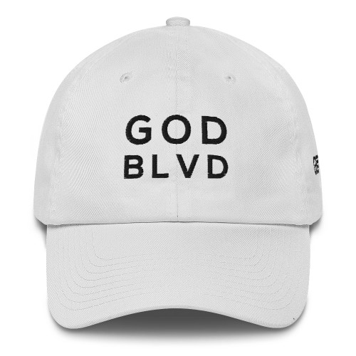 GOD BLVD - White Baseball Cotton Cap (Black Embroidered)  ***CURRENTLY OUT OF STOCK***