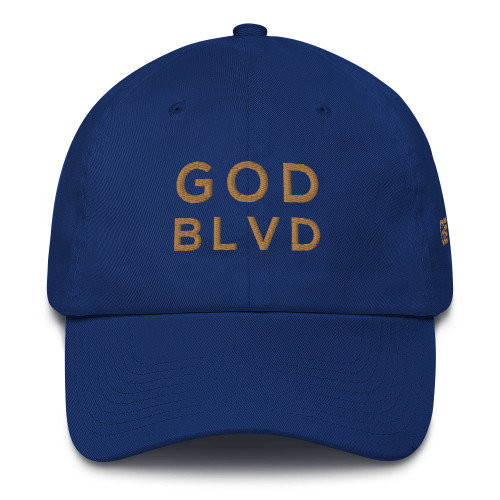 GOD BLVD - Royal Blue Baseball Cotton Cap (Old Gold Embroidered) ***CURRENTLY OUT OF STOCK***