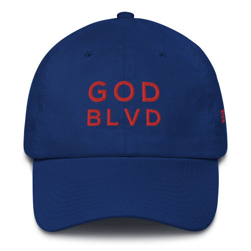 GOD BLVD - Royal Blue Baseball Cotton Cap (Red Embroidered) ***CURRENTLY OUT OF STOCK***