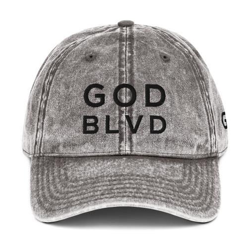 GOD BLVD - Vintage Cotton Twill Cap (Black Embroidered)