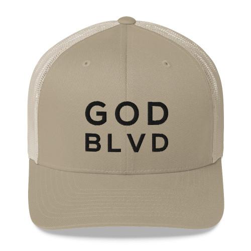 GOD BLVD - Khaki Retro Trucker Hat (Black)
