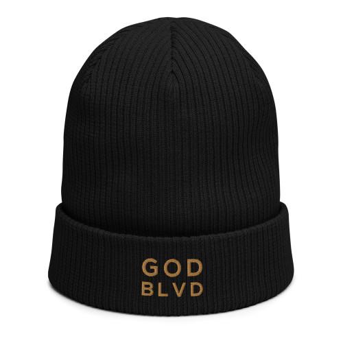 GOD BLVD - Black Organic Ribbed Beanie (Gold)