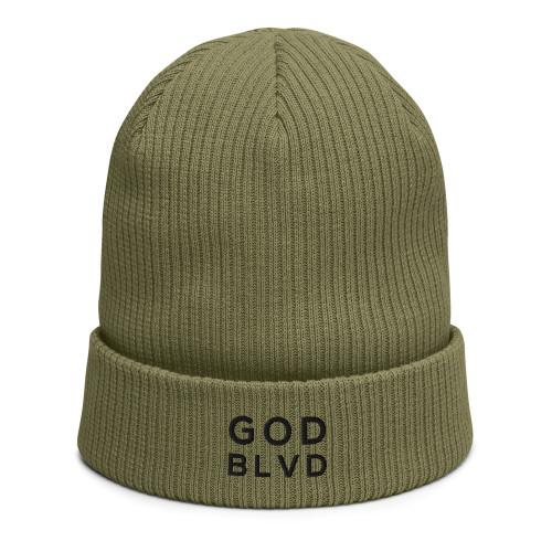 GOD BLVD - Olive Green Organic Ribbed Beanie (Black)