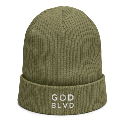GOD BLVD - Olive Green Organic Ribbed Beanie (White)
