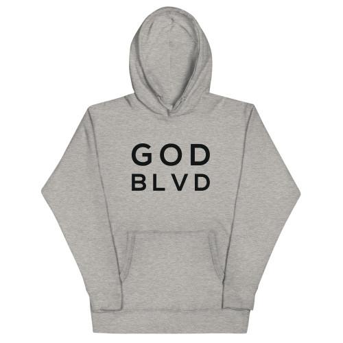 GOD BLVD - Grey Hoodie (Black Print Logo)