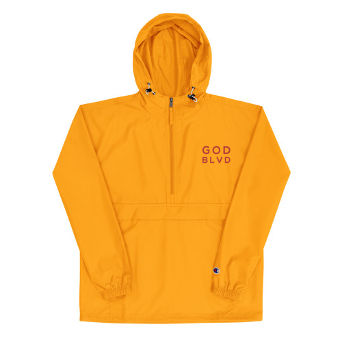 GOD BLVD x Champion - Packable Gold Jacket (Red Embroidered)