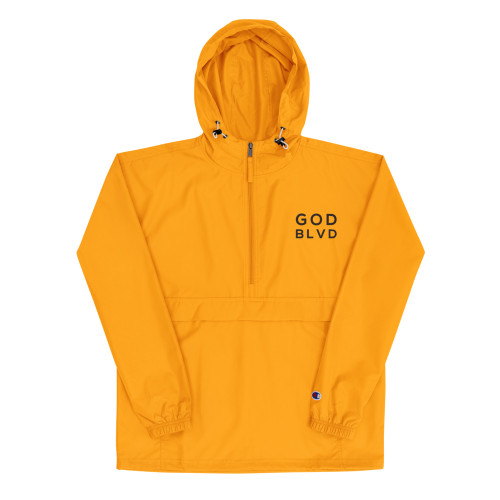 GOD BLVD x Champion - Women's Packable Gold Jacket (Black Embroidered)