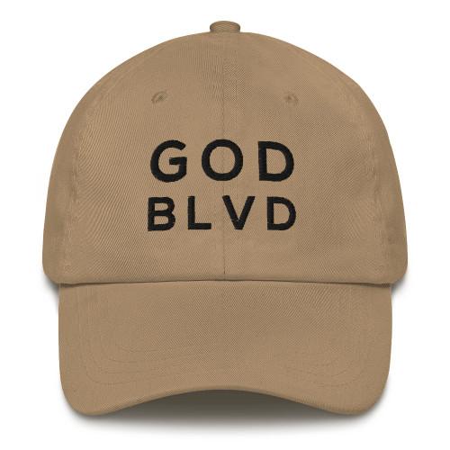 GOD BLVD - Classic Khaki Strapback Dad Hat (Black Stitch)