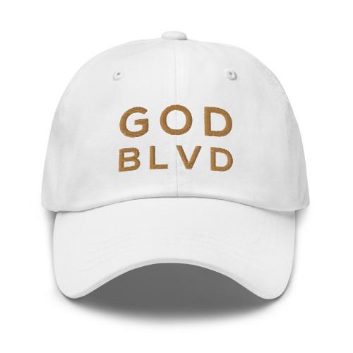 GOD BLVD - Classic White Strapback Dad Hat (Old Gold Stitch)