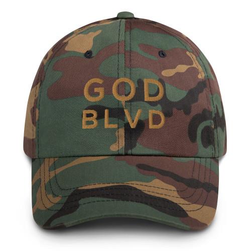 GOD BLVD - Classic Green Camo Strapback Dad Hat (Old Gold Stitch)