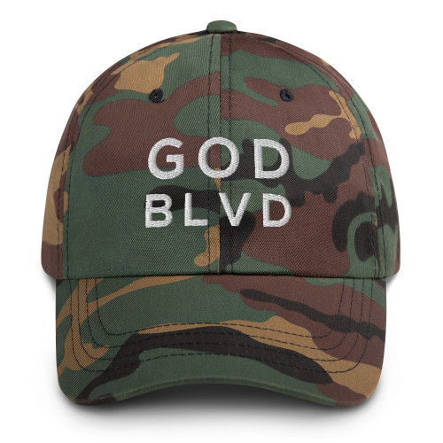 GOD BLVD - Classic Green Camo Strapback Dad Hat (White Stitch)