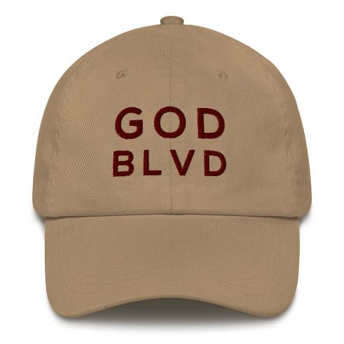 GOD BLVD - Classic Khaki Strapback Dad Hat (Maroon Stitch)