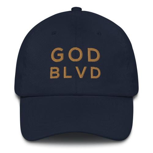 GOD BLVD - Classic Navy Strapback Dad Hat (Old Gold Stitch)