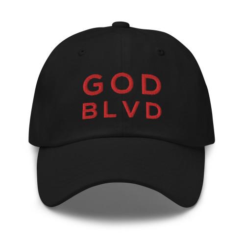GOD BLVD - Classic Black Strapback Dad Hat (Red Stitch)