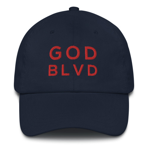 GOD BLVD - Classic Navy Strapback Dad Hat (Red Stitch)