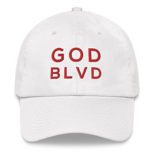 GOD BLVD - Classic White Strapback Dad Hat (Red Stitch)