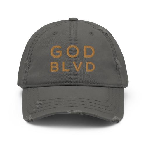 GOD BLVD - Grey Distressed Dad Hat (Old Gold Stitch)