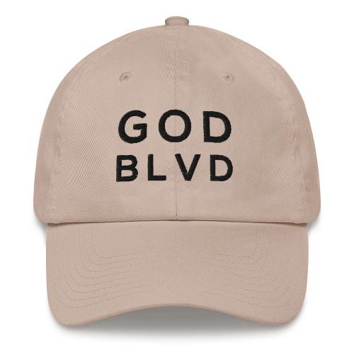 GOD BLVD - Classic Stone Strapback Dad Hat (Black Stitch)
