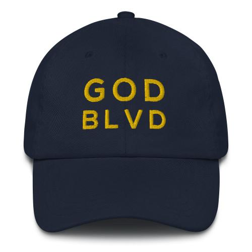 GOD BLVD - Classic Navy Strapback Dad Hat (Gold Stitch)