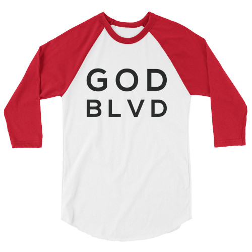 GOD BLVD - Red/Black - 3/4 Sleeve Raglan Tee