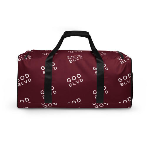 GOD BLVD - All Over Logo Maroon Red Duffle Bag
