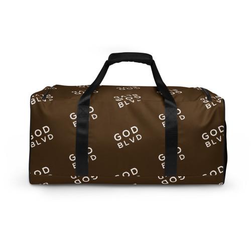GOD BLVD - All Over Logo Maroon Brown Duffle Bag