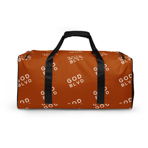 GOD BLVD - All Over Logo Golden Brown Duffle Bag