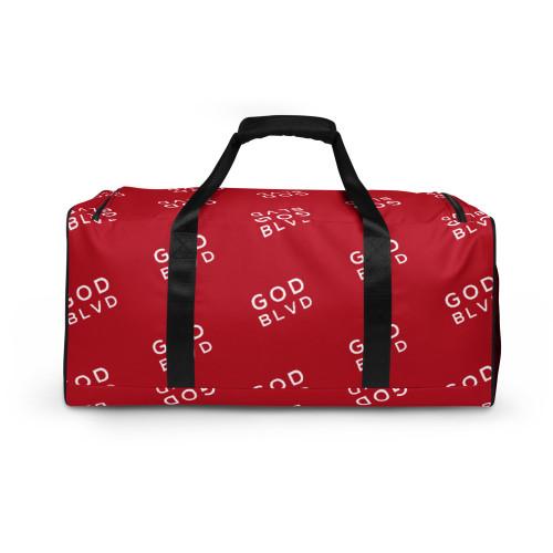 GOD BLVD - All Over Logo Red Duffle Bag