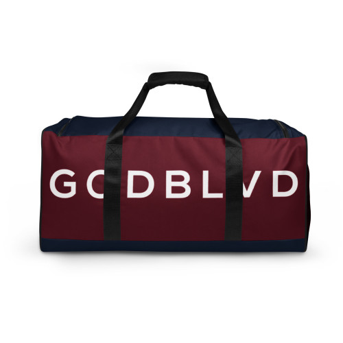 GOD BLVD - Navy Blue / Maroon Red Duffle Bag