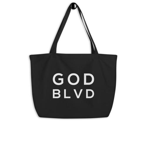 GODBLVD - Logo - Large Black Organic Tote Bag