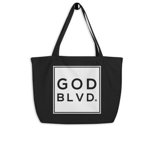 GODBLVD - Logo Sign - Large Black Organic Tote Bag