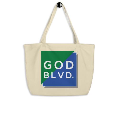 GODBLVD - Logo Sign - Large Black Organic Tote Bag (Green/Blue)
