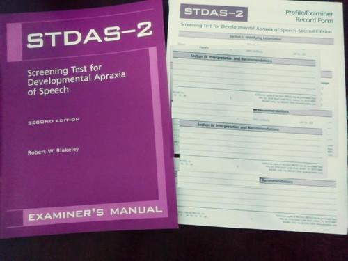 Screening Test for Developmental Apraxia of Speech: Examiner's manual (STDAS-2)