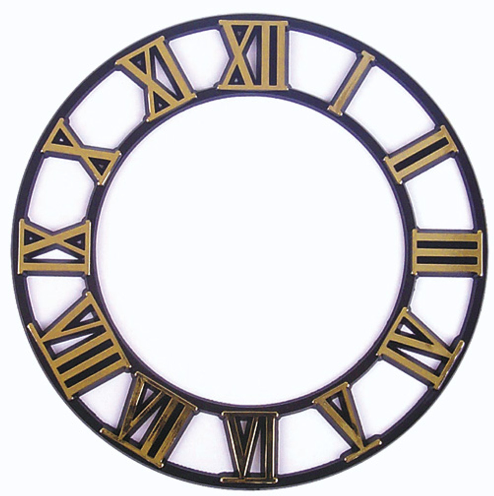 Clock Time Ring with Gold Roman Numerals and a black background.