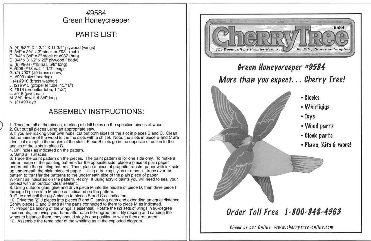 Cherry Tree Toys Green Honeycreeper Whirligig Plan